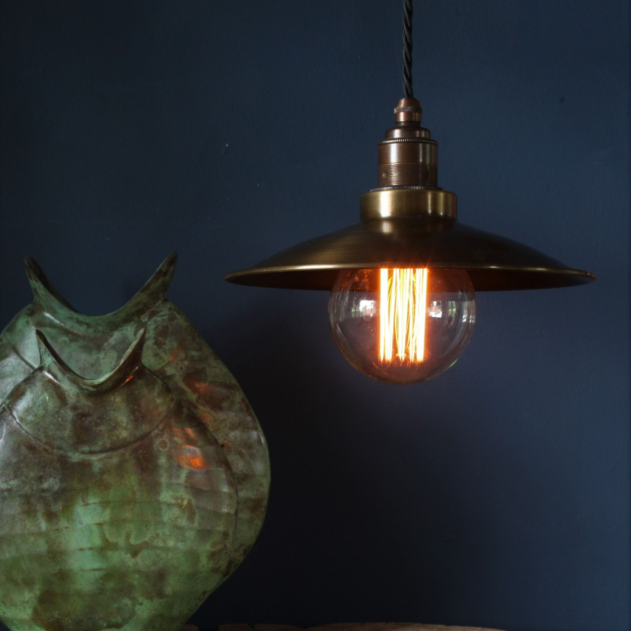 Small Santiago In Antique Brass With Black Fabric Lighting Cable